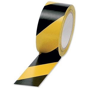 Image of Hazard Tape Soft PVC Internal Use 50mmx33m Black and Yellow