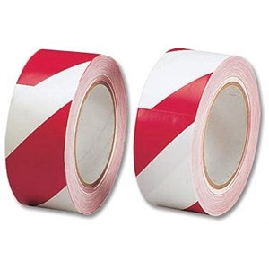 Image of 5 Star Office Hazard Tape Soft PVC Internal Use 50mmx33m Red and White