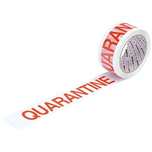 "Image of 5 Star Printed Tape ""Quarantine"" Polypropylene / 50mmx66m / Red on White / Pack of 6"
