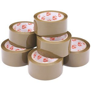 Image of 5 Star Packaging Tape / Low Noise / Polypropylene / 50mm x 66m / Buff / Pack of 6