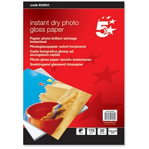 Image of 5 Star Inkjet Photo Gloss Fast Drying Paper / 100 x 150mm / White / 175gsm / Pack of 50 Sheets
