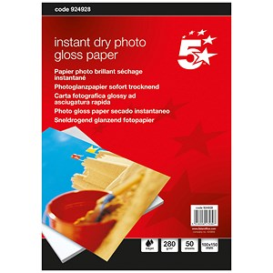 Image of 5 Star Inkjet Photo Gloss Fast Drying Paper / 100 x 150mm / White / 260gsm / Pack of 50 Sheets