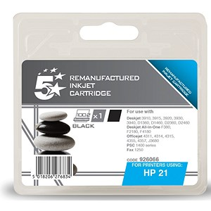 Image of 5 Star Compatible - Alternative to HP 21 Black Ink Cartridge