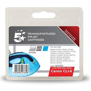 Image of 5 Star Compatible - Alternative to Canon CLI-8C Cyan Inkjet Cartridge
