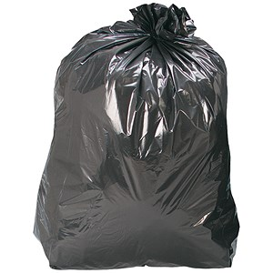 Image of 5 Star Recycled Refuse Sacks / 70 Gauge / 110 Litre / 450x280x950mm / Black / Box of 200