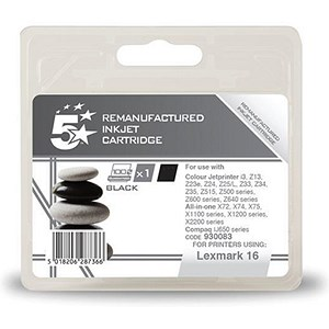 Image of 5 Star Compatible - Alternative to Lexmark No. 16 Black Inkjet Cartridge