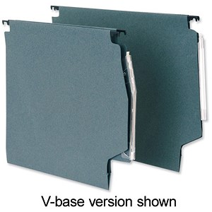 Image of 5 Star Manilla Lateral Files with Clear Tabs & Inserts / 275mm Width / Green / Pack of 50
