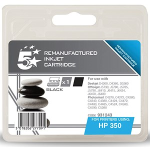 Image of 5 Star Compatible - Alternative to HP 350 Black Ink Cartridge