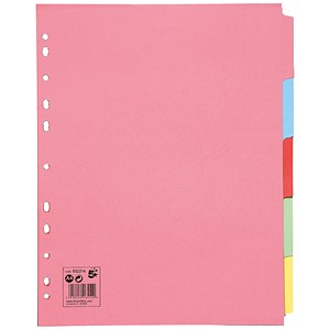 Image of 5 Star Subject Dividers / Multipunched / Manilla / 5-Part / Extra Wide / A4 / Assorted / Pack of 10
