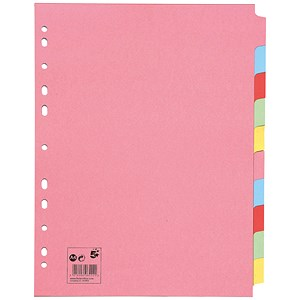 Image of 5 Star Subject Dividers / Multipunched Manilla Board / 10-Part / Extra Wide / A4 / Assorted / Pack of 10