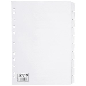 Image of 5 Star Subject Dividers / Multipunched / Manilla / 10-Part / A4 / White / Pack of 10