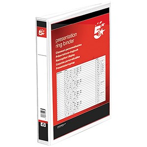Image of 5 Star Presentation Ring Binder / 2 D-Ring / 55mm Spine / 40mm Capacity / A4 / White / Pack of 10