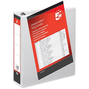 Image of 5 Star Presentation Ring Binder/ 4 D-Ring / 80mm Spine / 65mm Capacity / A4 / White / Pack of 10