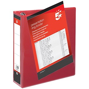 Image of 5 Star Presentation Ring Binder/ 4 D-Ring / 80mm Spine / 65mm Capacity / A4 / Red / Pack of 10