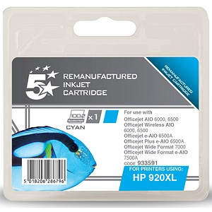 Image of 5 Star Compatible - Alternative to HP 920XL Cyan Ink Cartridge