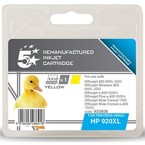 Image of 5 Star Compatible - Alternative to HP 920XL Yellow Ink Cartridge