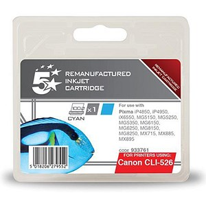 Image of 5 Star Compatible - Alternative to Canon CLI-526C Cyan Inkjet Cartridge