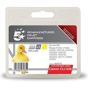 Image of 5 Star Compatible - Alternative to Canon CLI-526Y Yellow Inkjet Cartridge