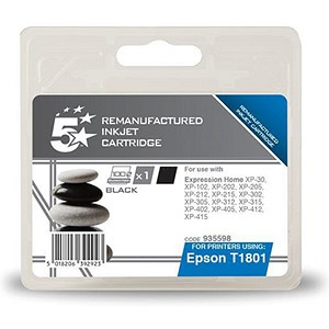 Image of 5 Star Compatible - Alternative to Epson T1801 Black Inkjet Cartridge