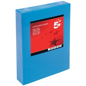Image of 5 Star A4 Multifunctional Coloured Paper / Deep Blue / 80gsm / Ream (500 Sheets)