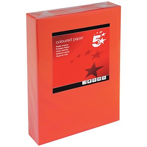 Image of 5 Star A4 Multifunctional Coloured Paper / Deep Red / 80gsm / Ream (500 Sheets)