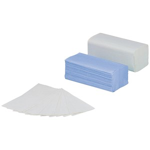 Image of 5 Star V-Fold Hand Towels / Single Ply / Blue / 20 Sleeves of 150 Sheets