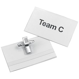 Image of 5 Star Name Badges with Combi-Clip / 45x75mm / Pack of 50
