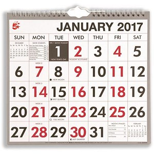 Image of 5 Star 2017 Wall Calendar / Wirebound / Month to View