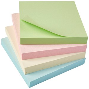 Image of 5 Star Eco Repositionable Notes / 76x76mm / Pastel / Pack of 12