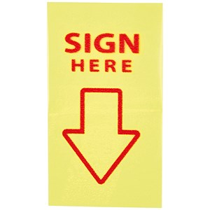 "Image of 5 Star ""Sign Here"" Index Flags / Yellow / Pack of 5"