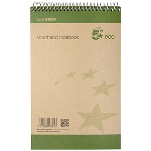 Image of 5 Star Eco Shorthand Notebook / 80 Sheets / Pack of 10