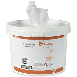 Image of 5 Star Hand and Surface Wipes Anti-bacterial Smooth 23gsm 28x28cm [Tub 150 Sheets]