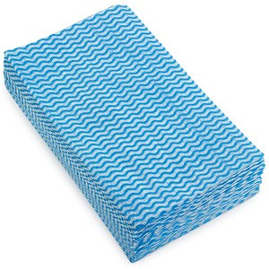 Image of 5 Star Cloths Anti-microbial 40gsm 50x30cm Wavy Line Blue [Pack 50]
