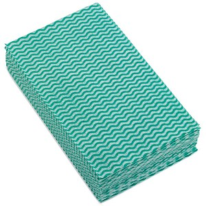 Image of 5 Star Cloths Anti-microbial 40gsm 50x30cm Wavy Line Green [Pack 50]