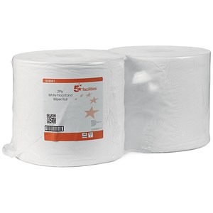 Image of 5 Star Wiper Roll 2-ply Perforated Sheet 260x370mm 40gsm Roll 370m White [Pack 2]
