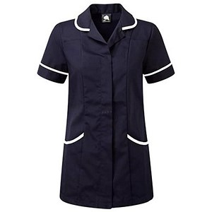 Image of 5 Star Ladies Nursing Tunic / Concealed Zip / Size 14 / Navy & White