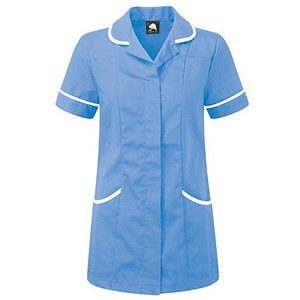Image of 5 Star Ladies Nursing Tunic / Concealed Zip / Size 18 / Blue & White