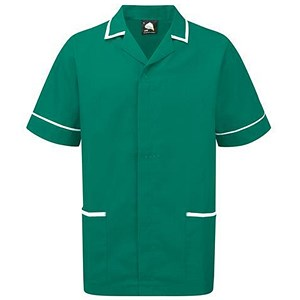 Image of 5 Star Mens Nursing Tunic / Concealed Zip / Medium / Green & White