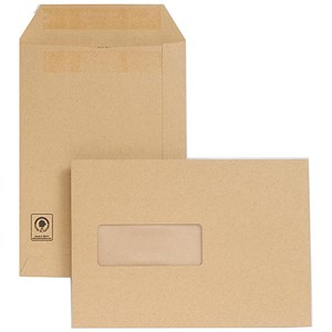 Image of New Guardian Heavyweight C5 Pocket Envelopes with Window / Manilla / Press Seal / Pack of 250