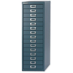 Image of Bisley SoHo 15-Drawer Cabinet - Doulton Blue