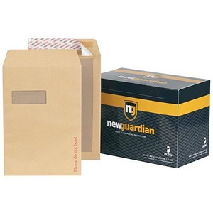 Image of New Guardian C4 Board-backed Envelopes / Window / Peel & Seal / Manilla / Pack of 125