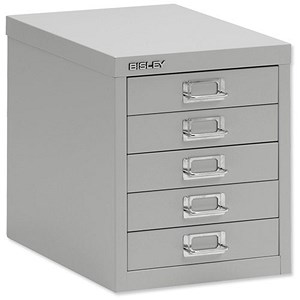 Image of Bisley SoHo 5-Drawer Cabinet - Grey