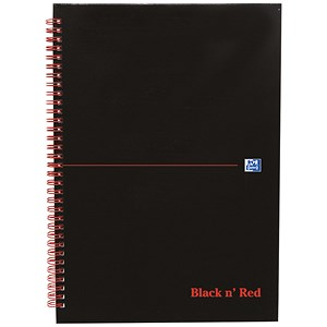 Image of Black n' Red Glossy Black Wirebound Notebook / A4 / Ruled & Perforated / 140 Pages / Pack of 5