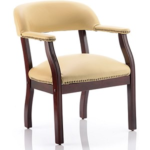 Image of Baron Leather Visitor Chair - Cream