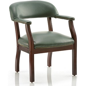 Image of Baron Leather Visitor Chair - Green