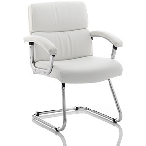 Image of Desire Visitor Cantilever Leather Chair - White