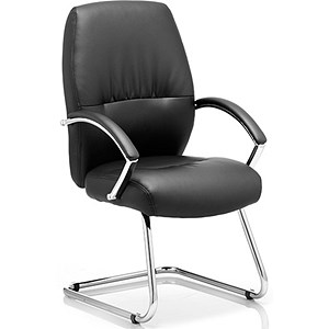 Image of Dune Visitor Cantilever Leather Chair - Black
