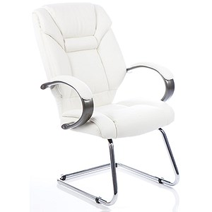 Image of Galloway Leather Visitor Chair - White