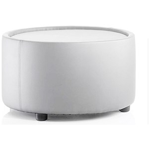Image of Neo Leather Round Table - White