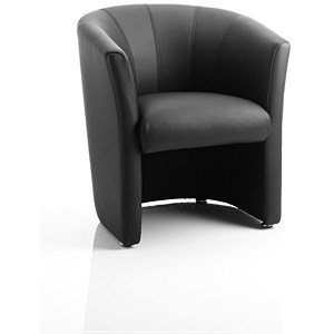 Image of Neo Single Seat Leather Tub Chair - Black